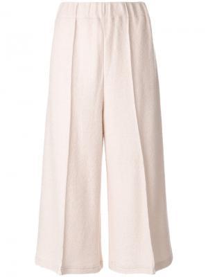Широкие укороченные брюки Mm6 Maison Margiela. Цвет: телесный