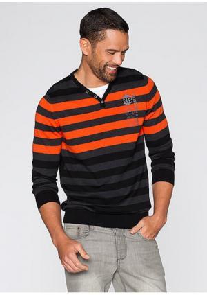 Пуловер. Цвет: темно-серый меланжевый/темно-оранжевый в полоску