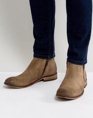 ASOS Песочные замшевые ботинки челси с двумя молниями. Цвет: светло-бежевый