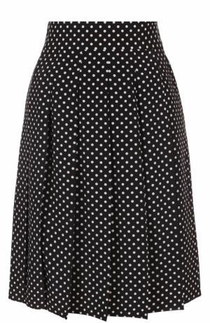 Шелковая плиссированная юбка в горох Marc Jacobs. Цвет: черно-белый