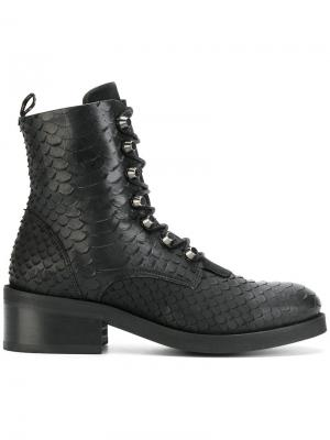 Ботинки Dalida Cone с эффектом кожи питона Nubikk. Цвет: чёрный