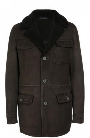 Однобортное пальто из овчины Lanvin. Цвет: темно-коричневый