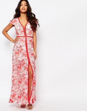 Foxiedox Платье с вышивкой и высоким разрезом Tulip. Цвет: мульти