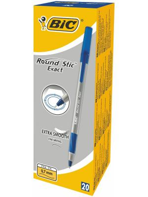 Ручка шариковая Round Stic Exact, синяя, 0,7мм, грип BIC. Цвет: синий