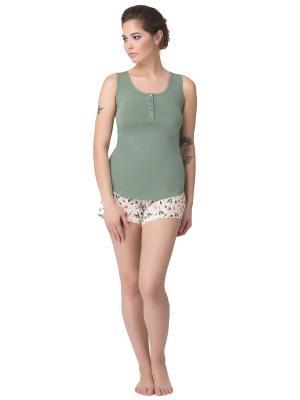 Комплект женский: майка-шорты PRIMAVERINA. Цвет: зеленый, бежевый, розовый