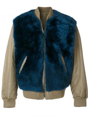Двухсторонняя куртка-бомбер Yves Salomon. Цвет: синий