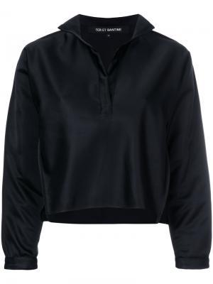 Укороченная рубашка с открытой планкой Ter Et Bantine. Цвет: чёрный