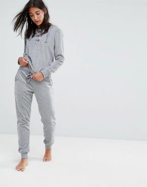 Hunkemoller Бархатные брюки. Цвет: серый