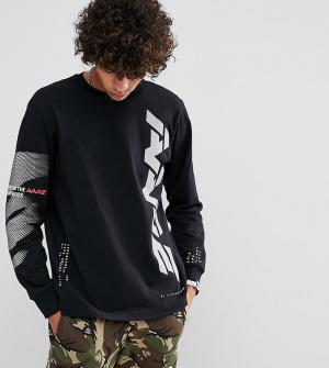 AAPE BY A BATHING APE Лонгслив со светоотражающим логотипом. Цвет: черный