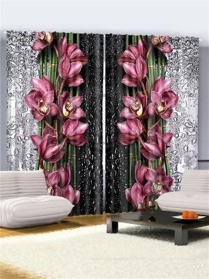 Фотошторы Сиреневые цветы, 290*265 см Magic Lady. Цвет: черный, зеленый, серый, розовый