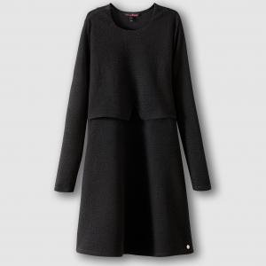 Платье с длинными рукавами TOM TAILOR. Цвет: черный
