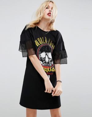 ASOS Платье-футболка с перекрестными бретелями, кружевными рукавами и принт. Цвет: черный