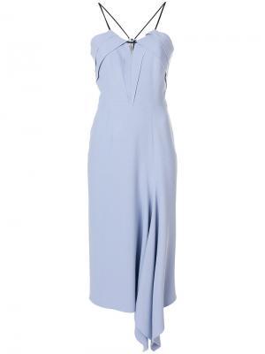 Платье с оборкой Roland Mouret. Цвет: синий
