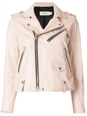 Байкерская куртка Coach. Цвет: розовый и фиолетовый