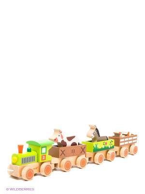 Каталка на веревочке Поезд ферма Janod. Цвет: бежевый, салатовый