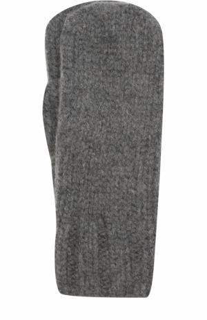 Варежки фактурной вязки Tegin. Цвет: темно-серый