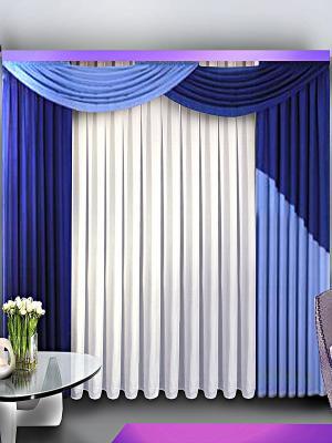 Комплект штор ZLATA KORUNKA. Цвет: синий, белый, голубой