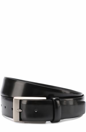 Кожаный ремень с металлической пряжкой Canali. Цвет: черный