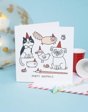 OHH DEER Квадратная поздравительная открытка на день рождения с надписью Party. Цвет: мульти