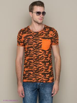 Футболка Blend. Цвет: оранжевый, хаки, коричневый