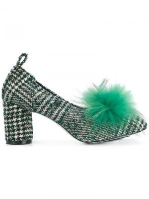 Твидовые туфли с помпоном Suecomma Bonnie. Цвет: зелёный