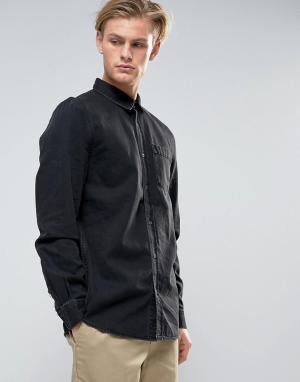 Weekday Черная выбеленная джинсовая рубашка Class. Цвет: черный