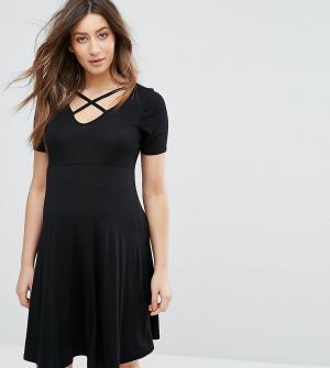 New Look Maternity Короткое приталенное платье для беременных. Цвет: черный