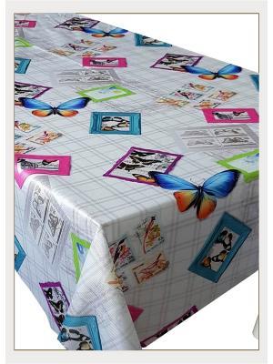 Скатерть с фотопринтом Разноцветные бабочки, 150x150 см Magic Lady. Цвет: синий, зеленый, серый, голубой, фиолетовый, оранжевый, розовый, желтый, белый, черный
