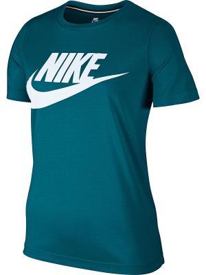 Футболка W NSW ESSNTL TEE HBR Nike. Цвет: темно-зеленый, белый
