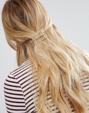 ASOS Заколка для волос с отделкой в виде звеньев цепочки. Цвет: золотой
