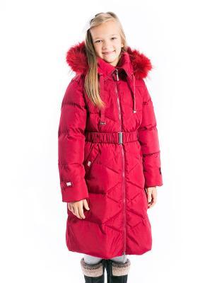 Пальто Есения пуховое Аксарт. Цвет: темно-красный