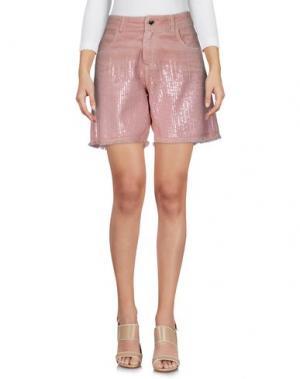 Джинсовые шорты TWIN-SET JEANS. Цвет: пастельно-розовый