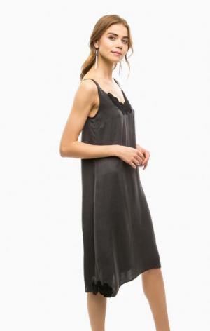 Серое платье в бельевом стиле на бретелях DRYKORN. Цвет: серый