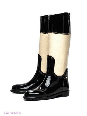Резиновые сапоги Lady Lita. Цвет: черный, светло-бежевый