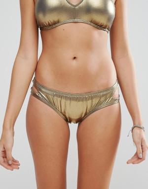 Bikini Lab Трусики с вырезом капелькой. Цвет: медный