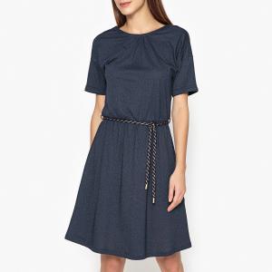 Платье короткое блестящее LULU SESSUN. Цвет: темно-синий