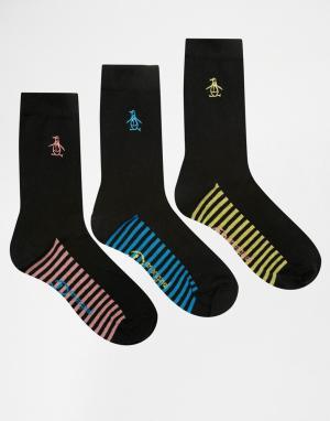 Penguin Набор из 3 пар черных носков с контрастной подошвой