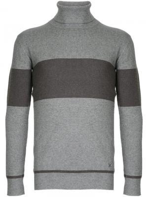 Полосатый свитер с отворотной горловиной Guild Prime. Цвет: серый
