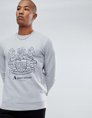 Aquascutum Серый свитшот с круглым вырезом и логотипом Ives. Цвет: серый