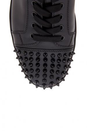 Кожаные кеды Louis Junior Spikes Flat Christian Louboutin. Цвет: черный