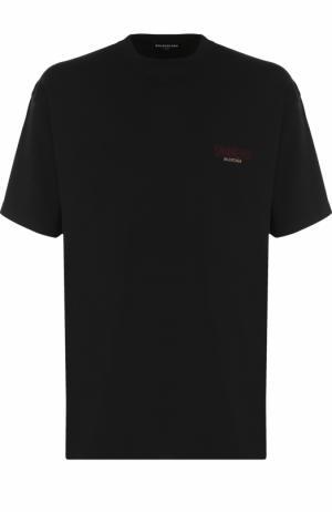 Хлопковая футболка с круглым вырезом Balenciaga. Цвет: черный