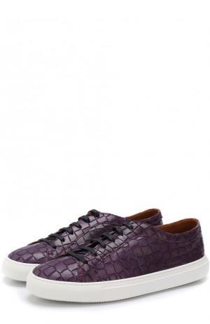 Кожаные кеды на шнуровке с тиснением Fratelli Rossetti. Цвет: темно-фиолетовый