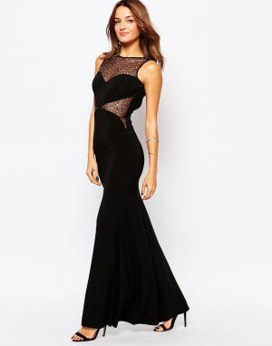 Little Black Dress Платье макси с кружевными вставками Jennifer. Цвет: черный