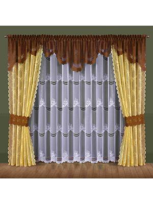 Комплект штор Wisan. Цвет: коричневый, молочный, белый