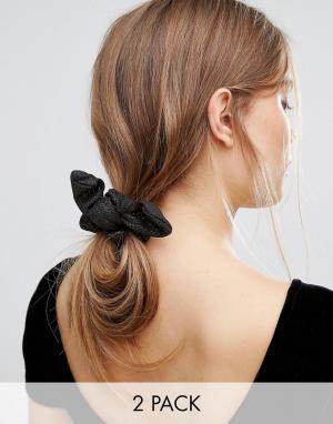 Johnny Loves Rosie Набор из 2 резинок для волос с эффектом металлик. Цвет: черный