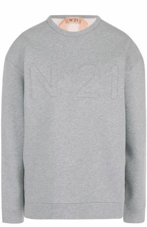Свитшот с фактурным логотипом бренда No. 21. Цвет: серый