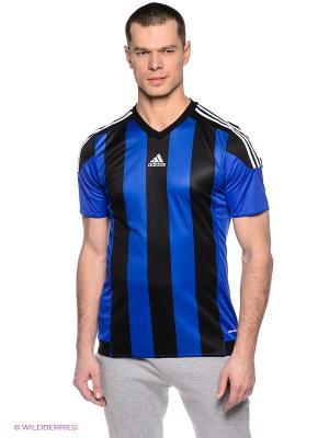 Футболка STRIPED 15 JSY Adidas. Цвет: синий, черный