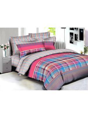 Комплект постельного белья Buenas noches Cannes из люкс сатина 2-спальный. Цвет: лазурный, бежевый, лиловый