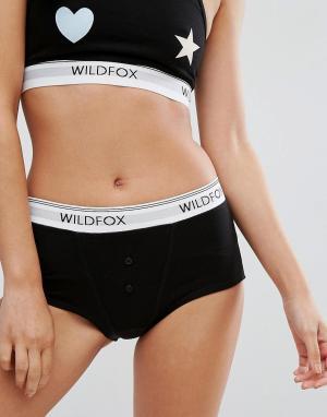 Wildfox Трусики-шорты с логотипом. Цвет: черный