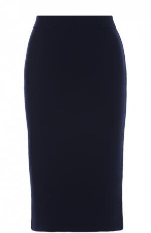 Вязаная юбка-карандаш с разрезом Cruciani. Цвет: синий